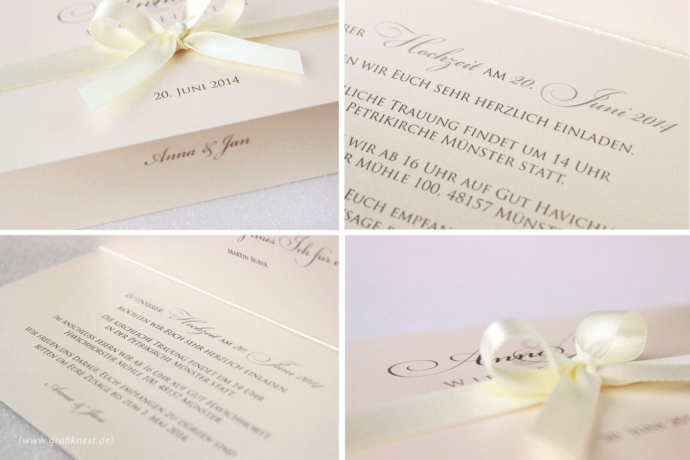 Elegante Hochzeitseinladung mit einer Schleife in Creme }  Annette ...