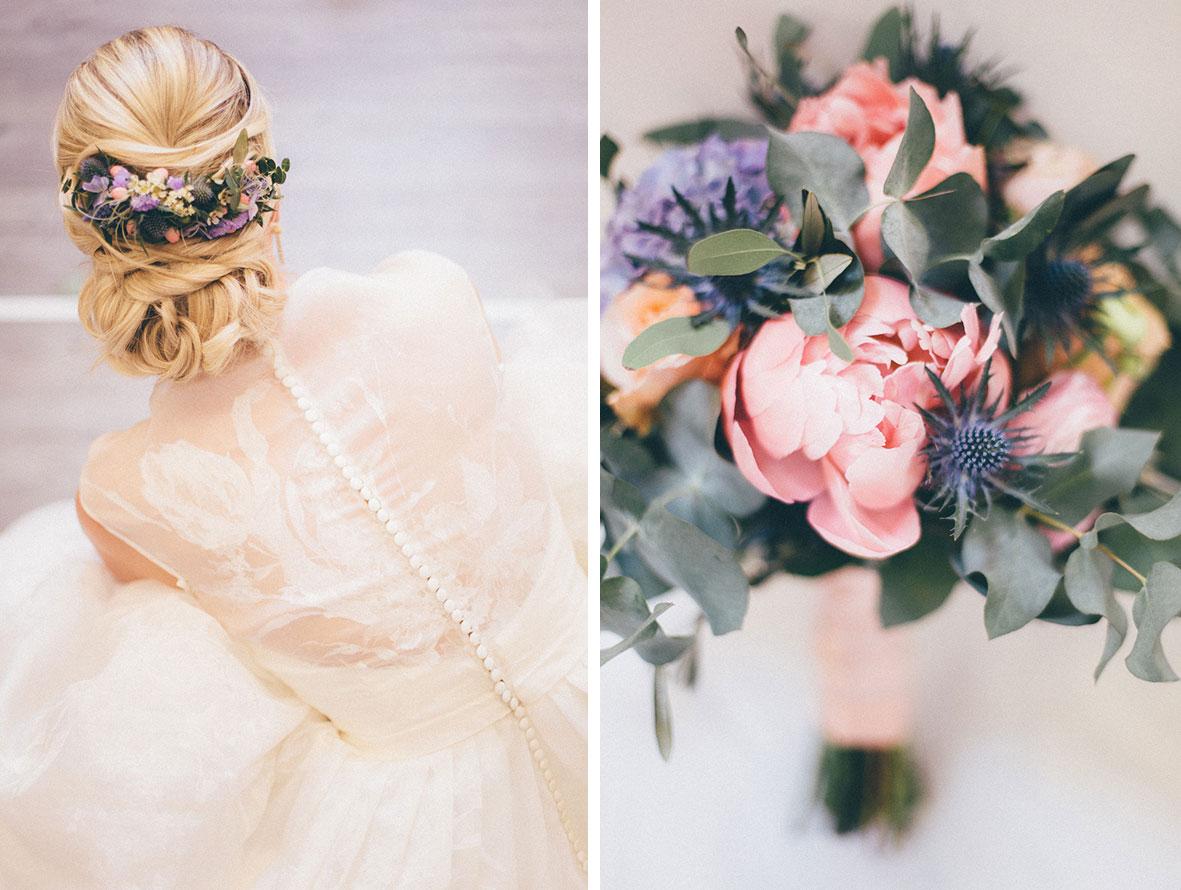 Brautstrauss und Braut