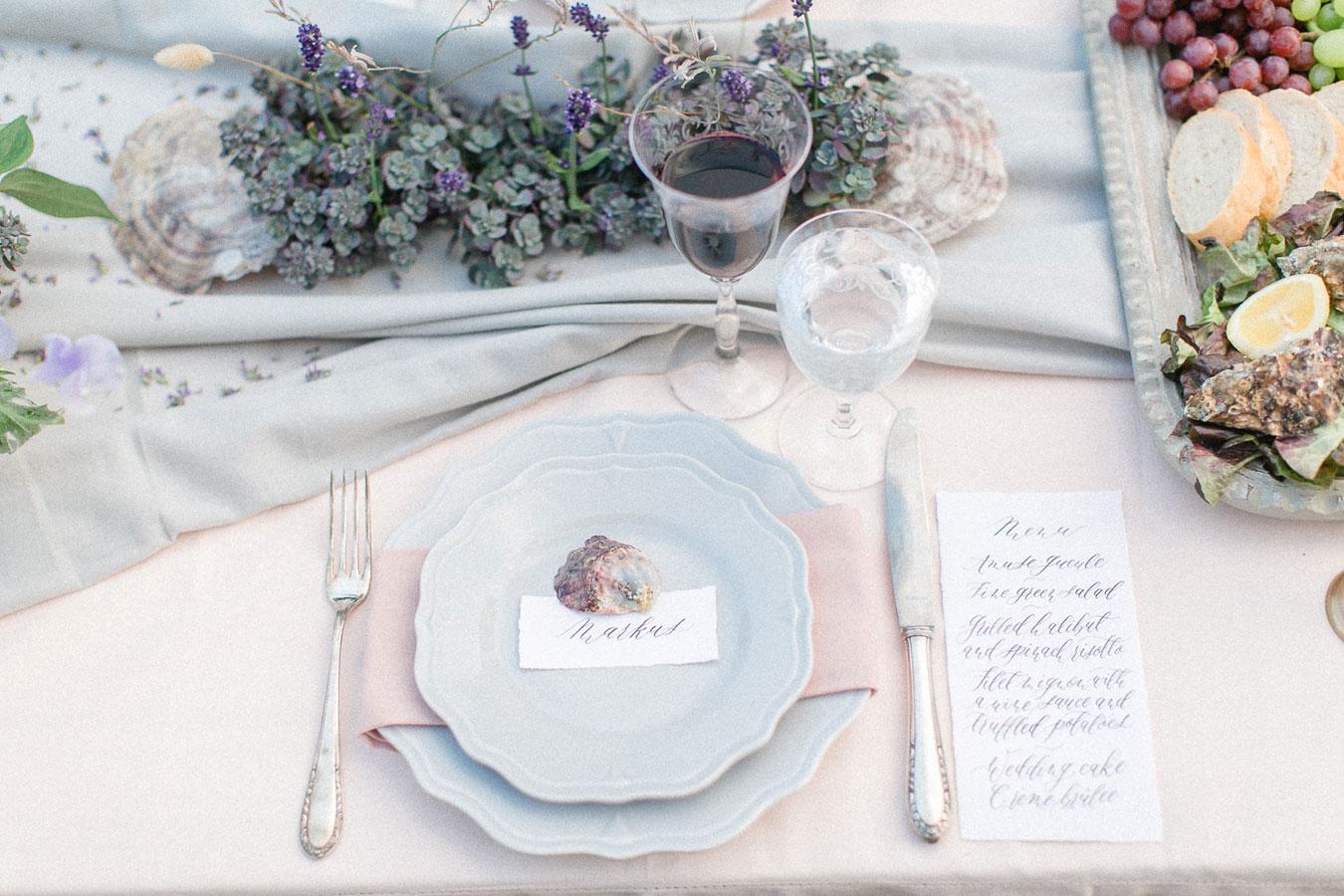 Hochzeitsmenue Kalligrafie Provence