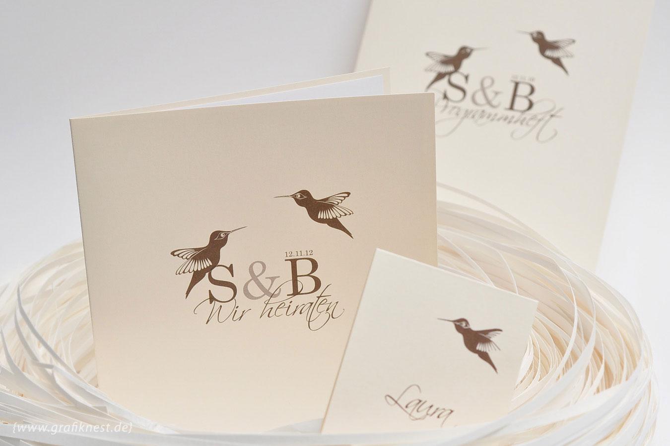 Hochzeitskarten mir Kolibris