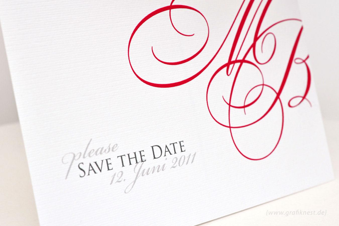 Save the Date Karte im Monogramm Design