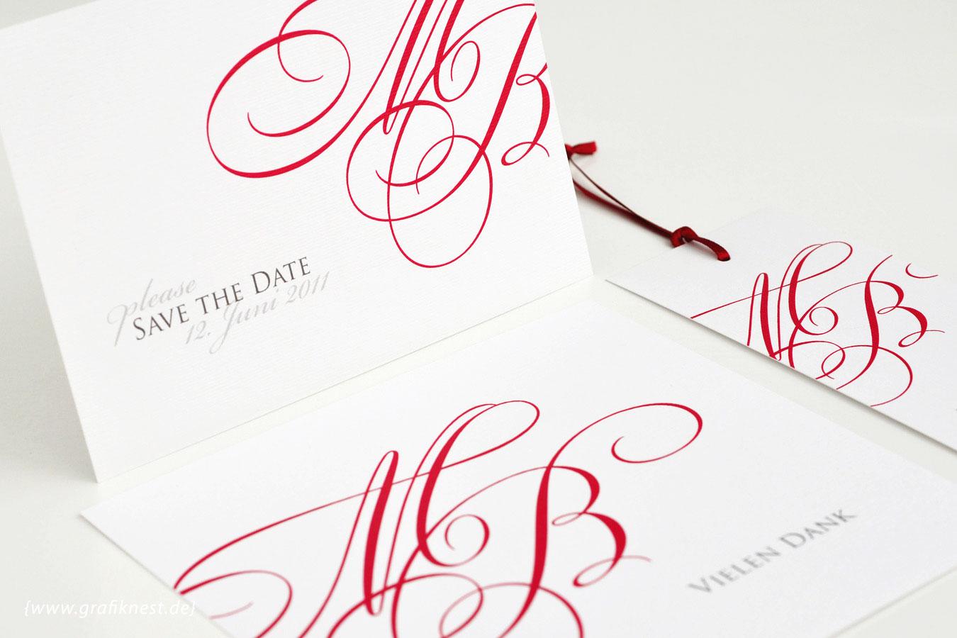 Hochzeitspapeterie mit Monogramm Design