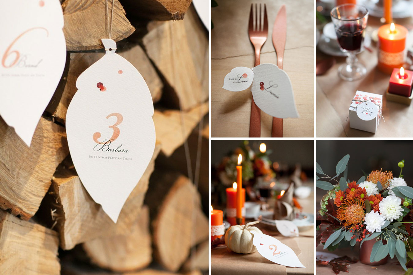 Herbstliche Hochzeitspapeterie in Blattform mit Aquarell-Beeren