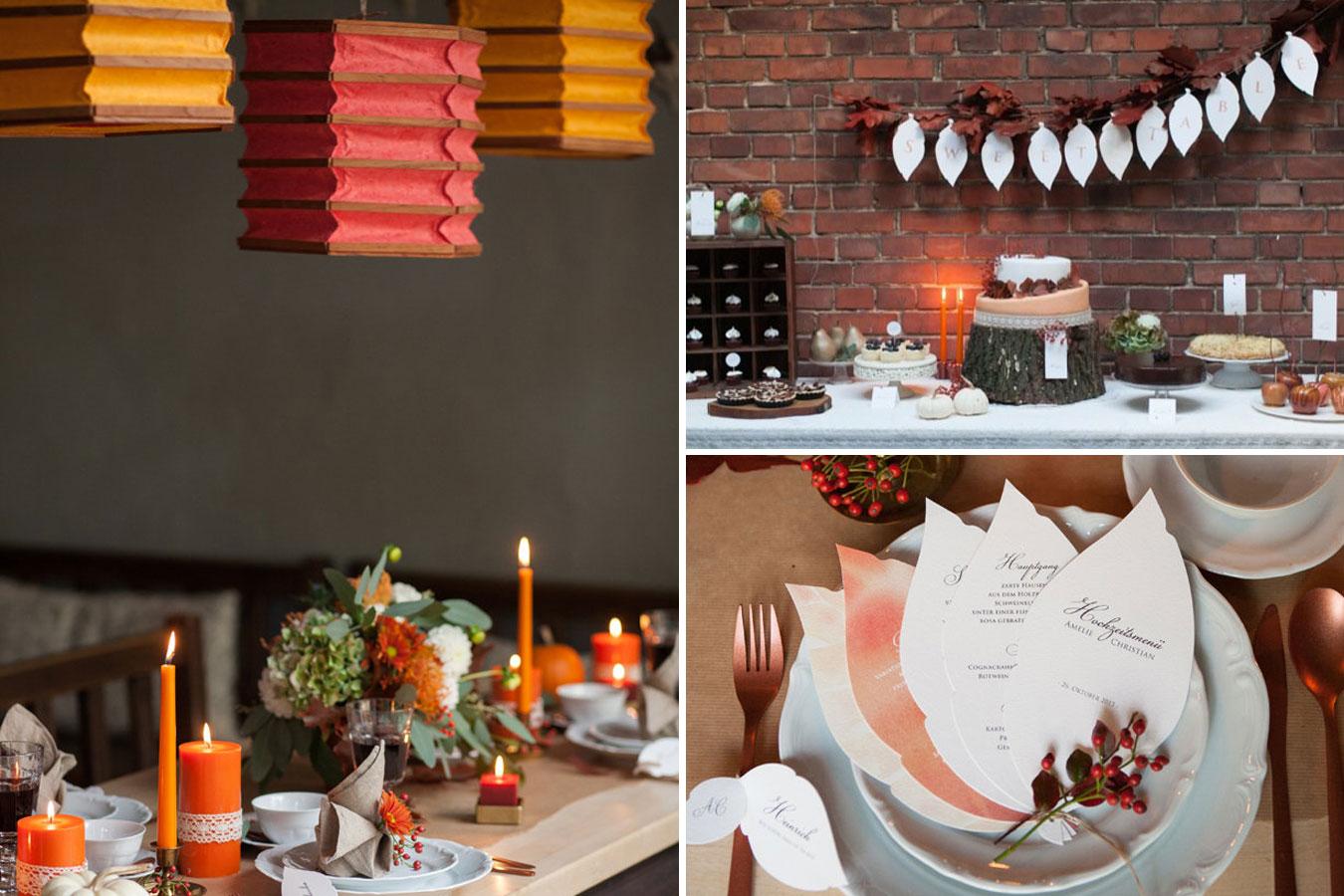 Herbstliche Hochzeitspapeterie in Blattform mit Aquarell-Beeren - Menü