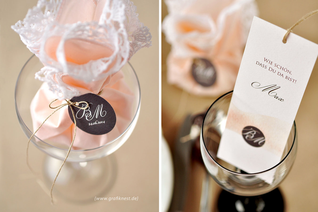 Hochzeitspapeterie Gastgeschenk mit Monogrammanhänger