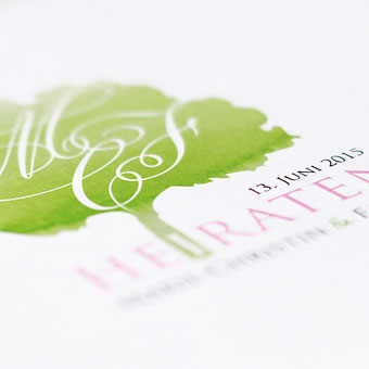 { Baum Aquarell Design - Einladung Marie & Fabian }