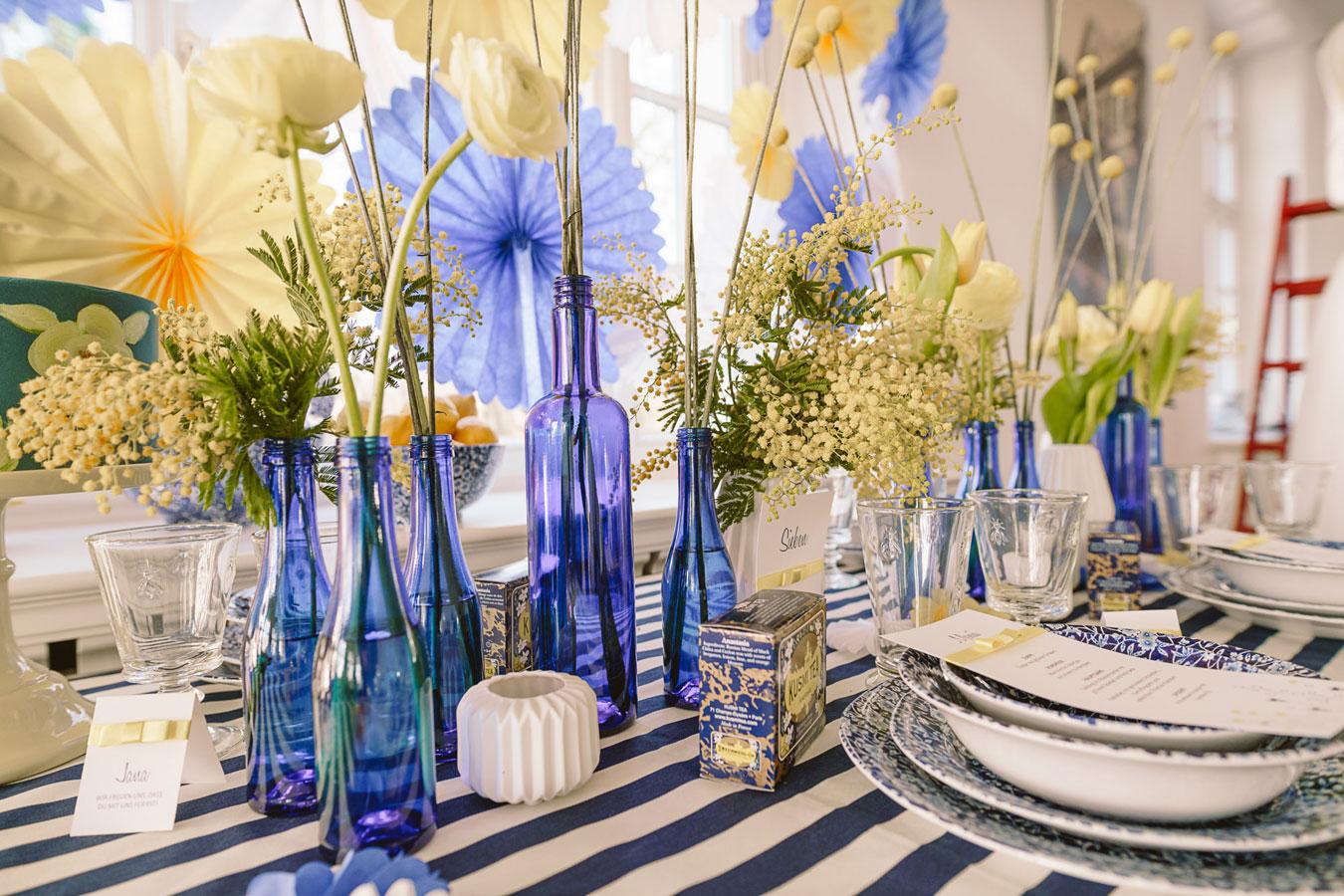 Summer in Sweden Hochzeitspapeterie Blau Gelb