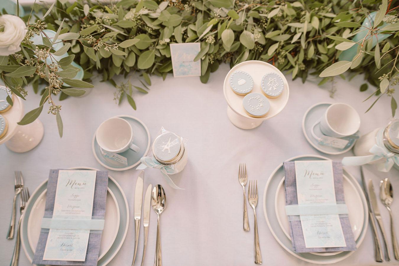 Sylt Aquarell Hochzeitspapeterie im zarten Blau