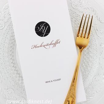 { Irene & Youssef: Hochzeitslogo in Schwarz }