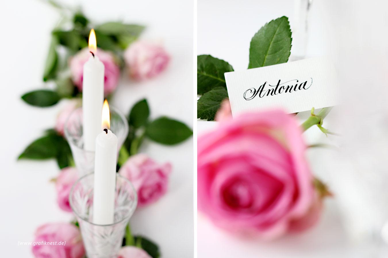 Tischkarten Kalligrafie romantisch mit Kerzen und Rosen