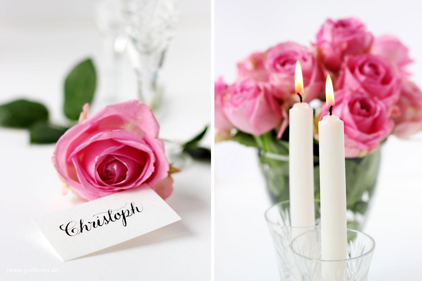 Romantische Tischkarten Kalligrafie für Christoph