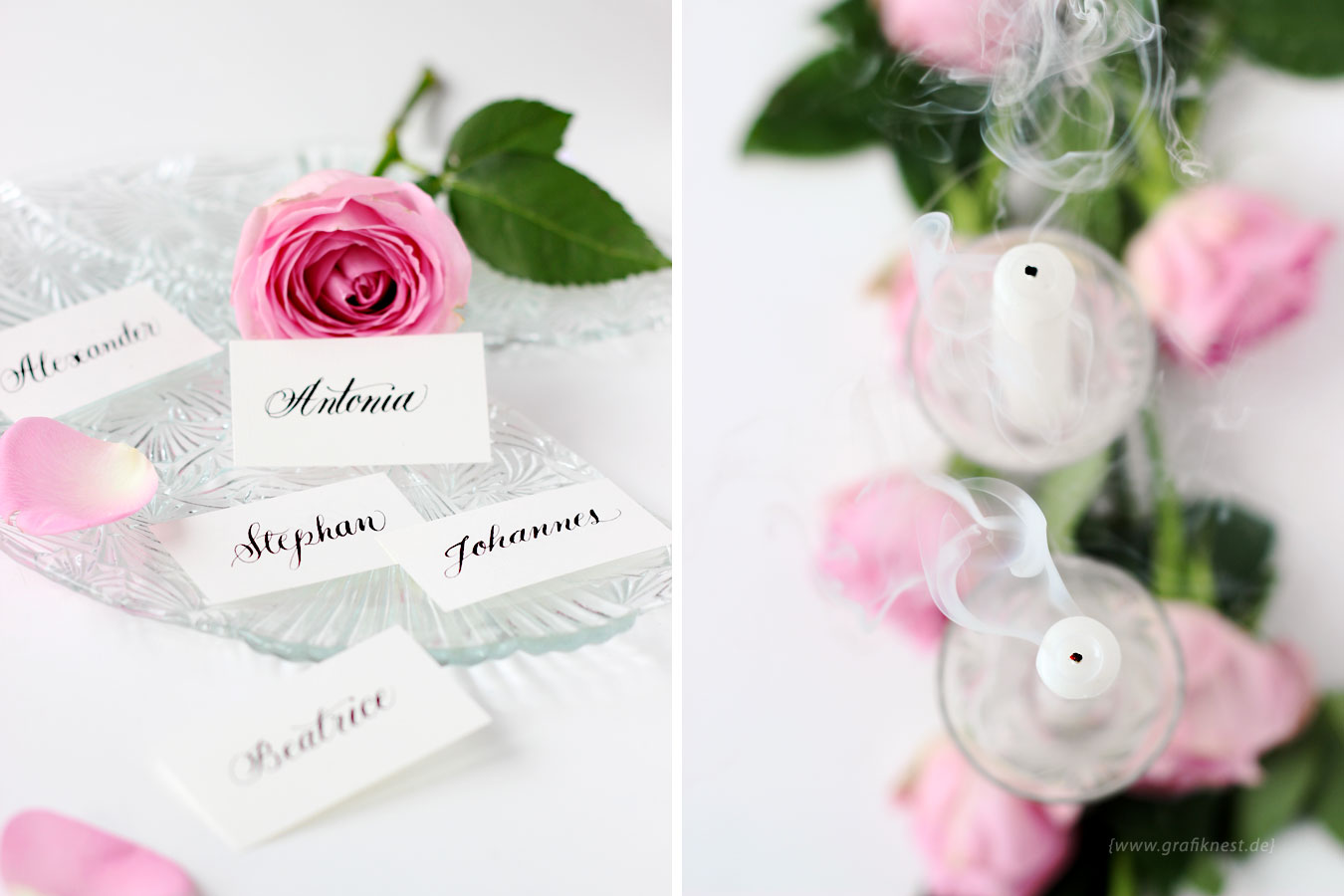Tischkarten Kalligrafie romantisch
