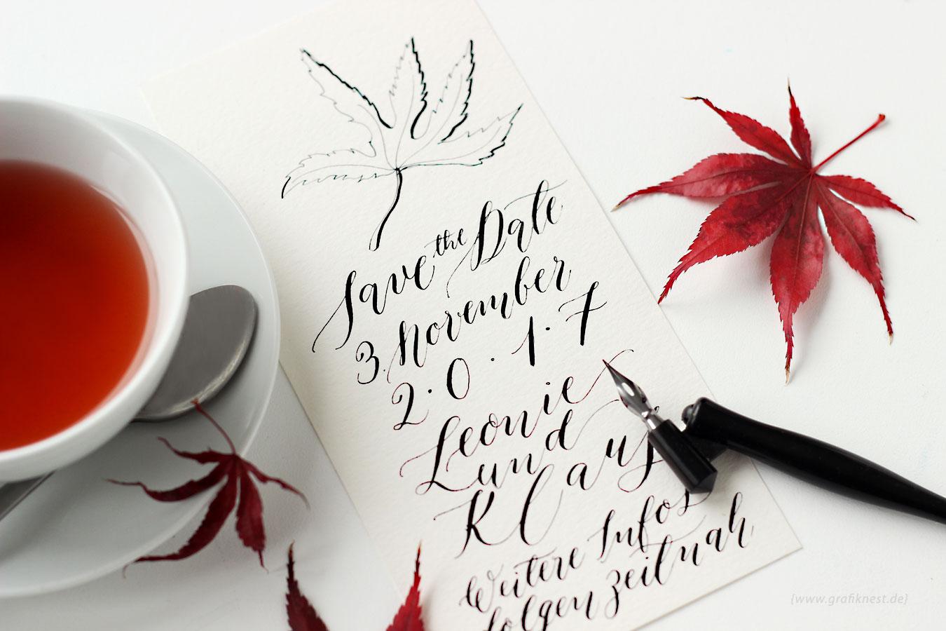 Kalligrafie Herbst Hochzeitspapetetie