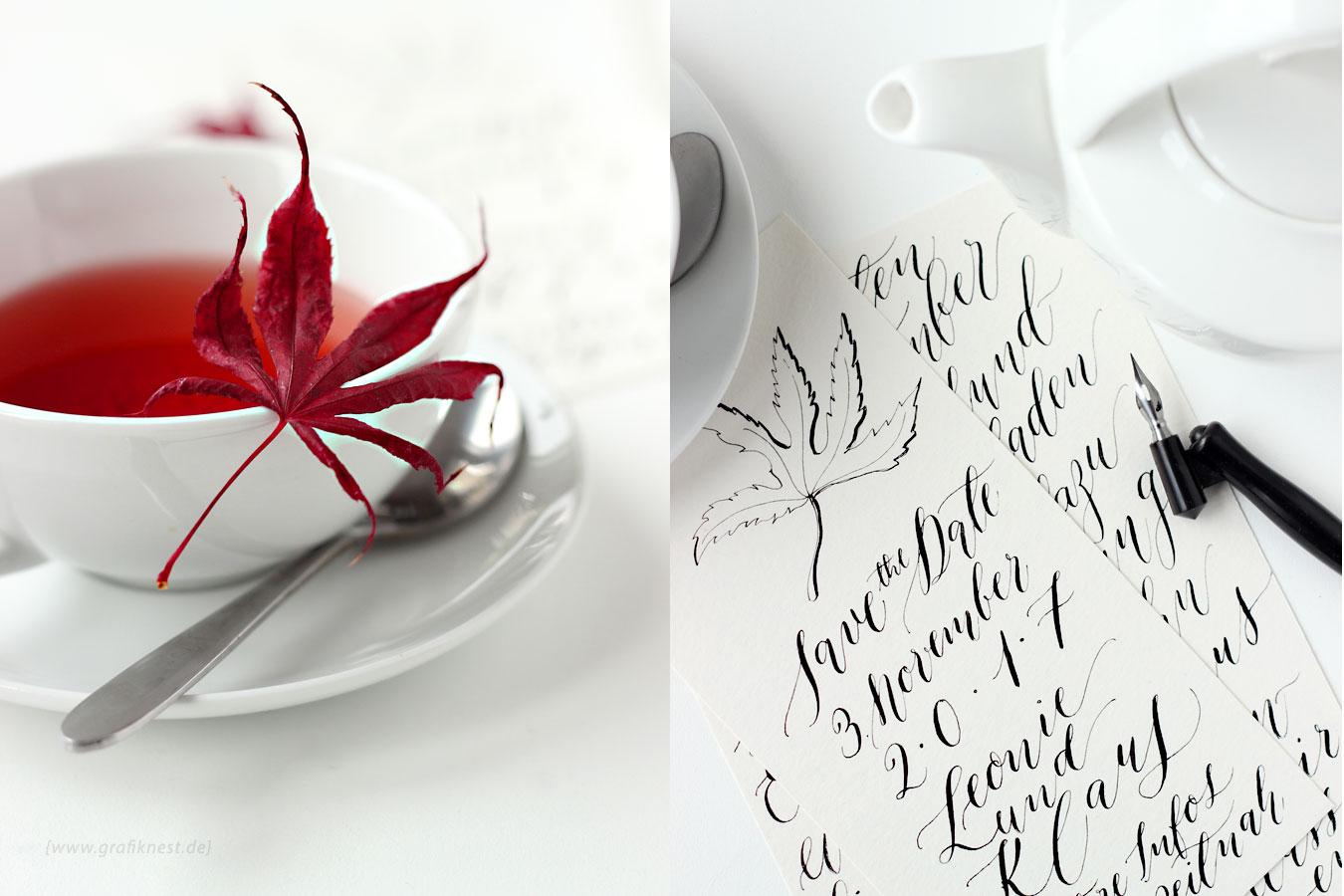 Kalligrafie Herbst Hochzeitspapeterie- Save the Date