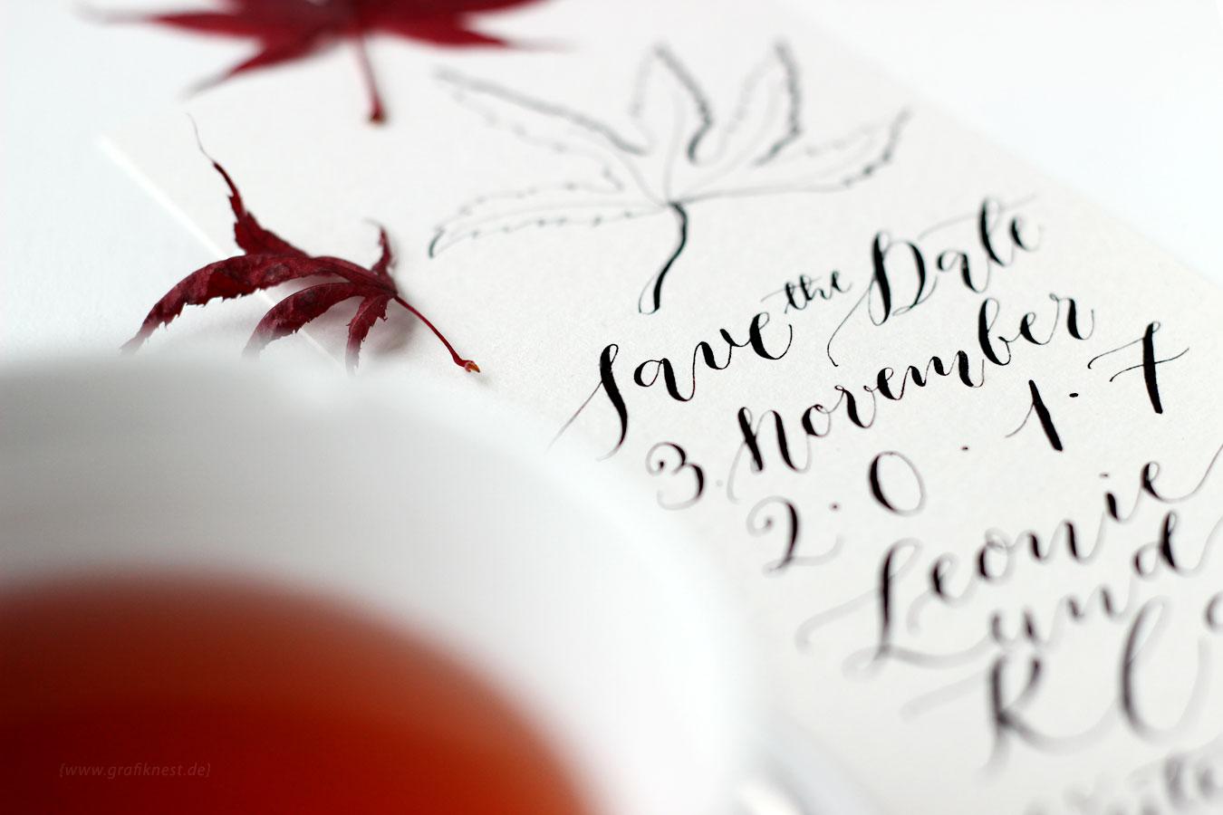 Kalligrafie Herbst Hochzeitspapeterie