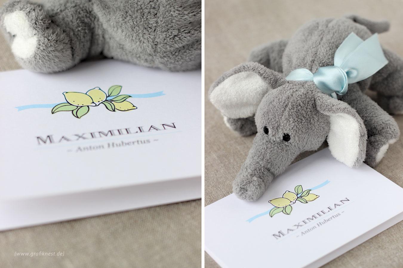 Babykarte zur Geburt von Maxi mit Zitronenlogo