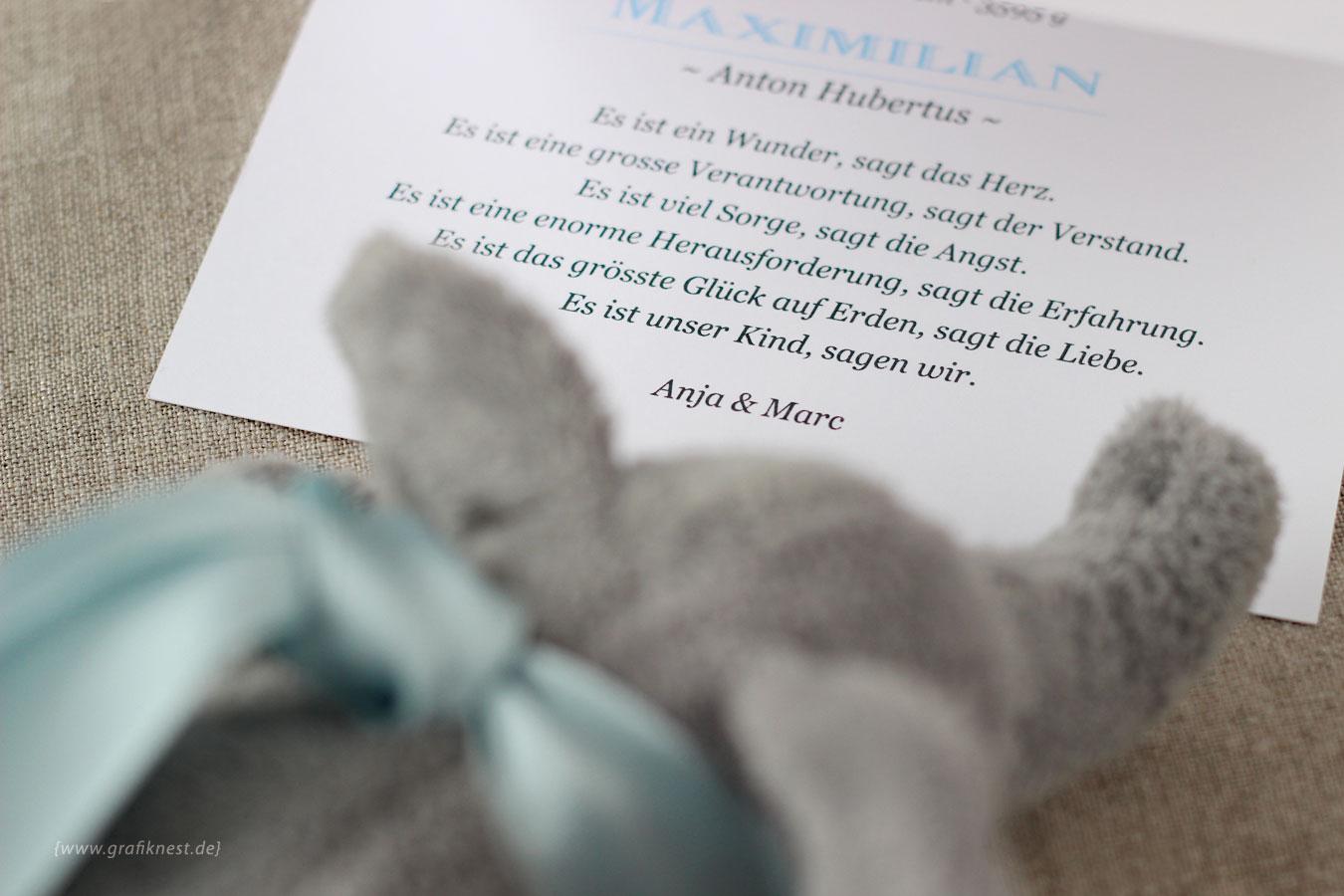 Babykarte zur Geburt von Maxi Innenansicht