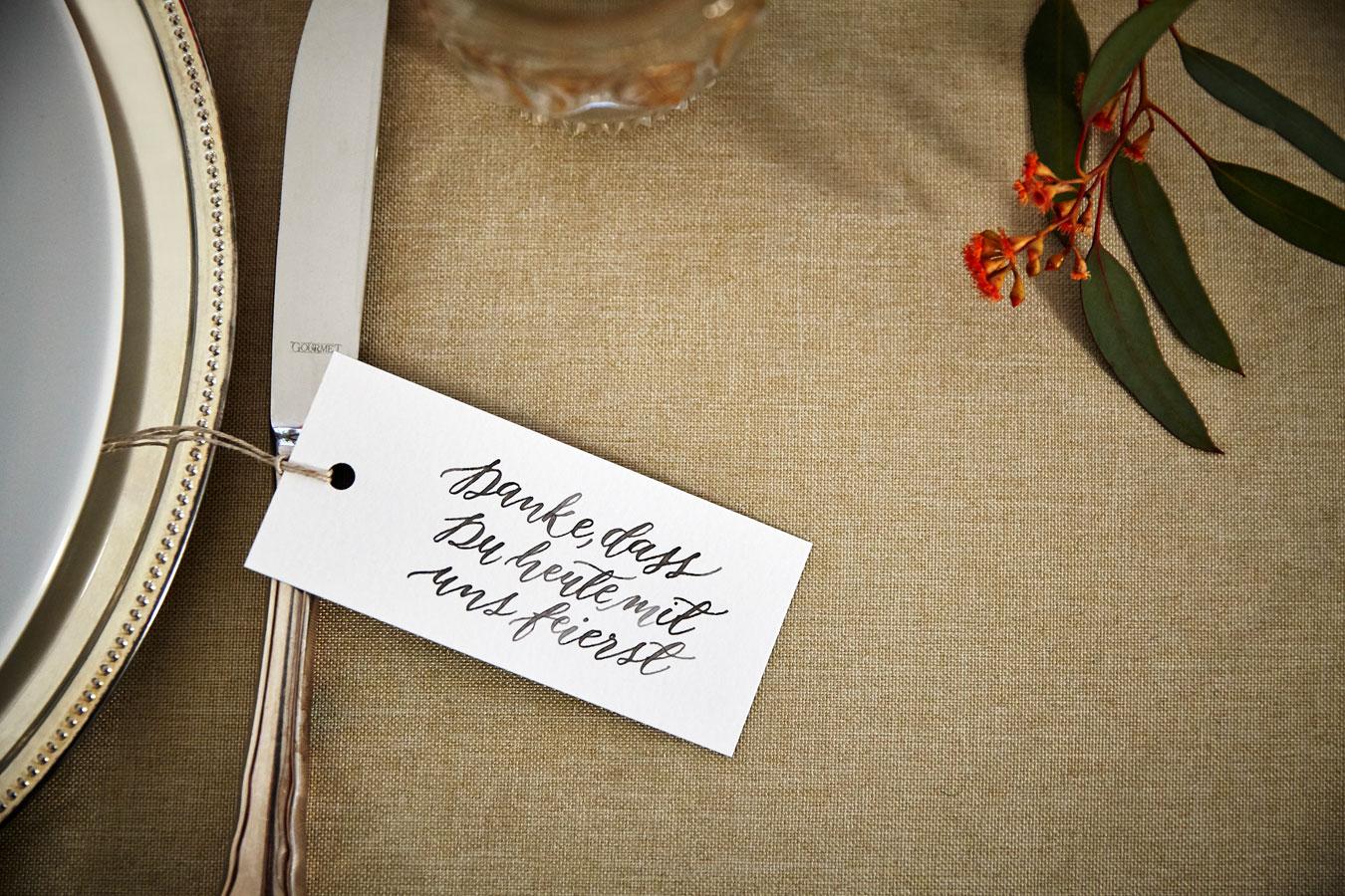 Danke Anhänger zur Hochzeit kalligrafisch