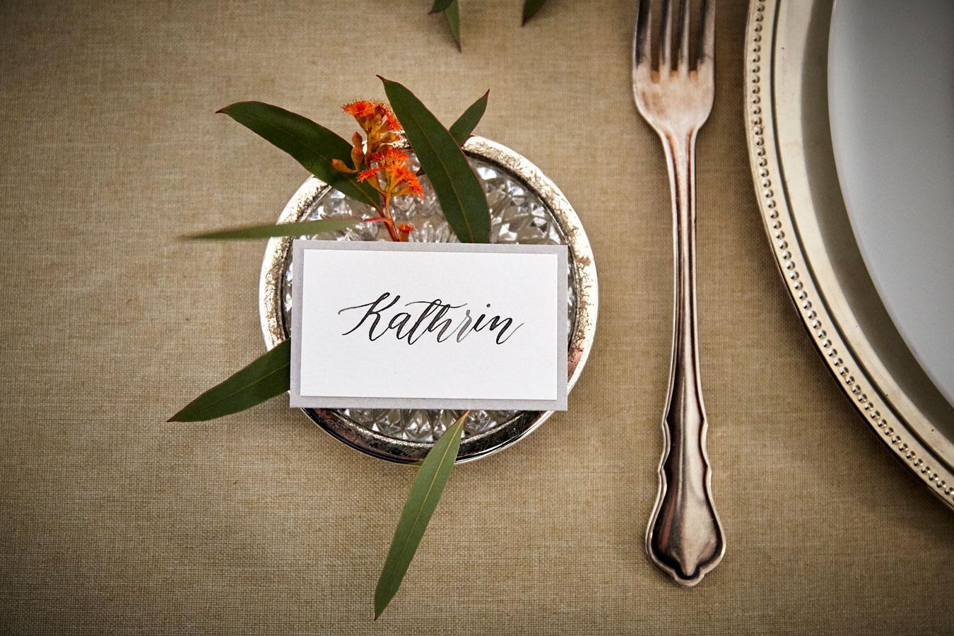 Kalligrafie Tischkarte rustikal