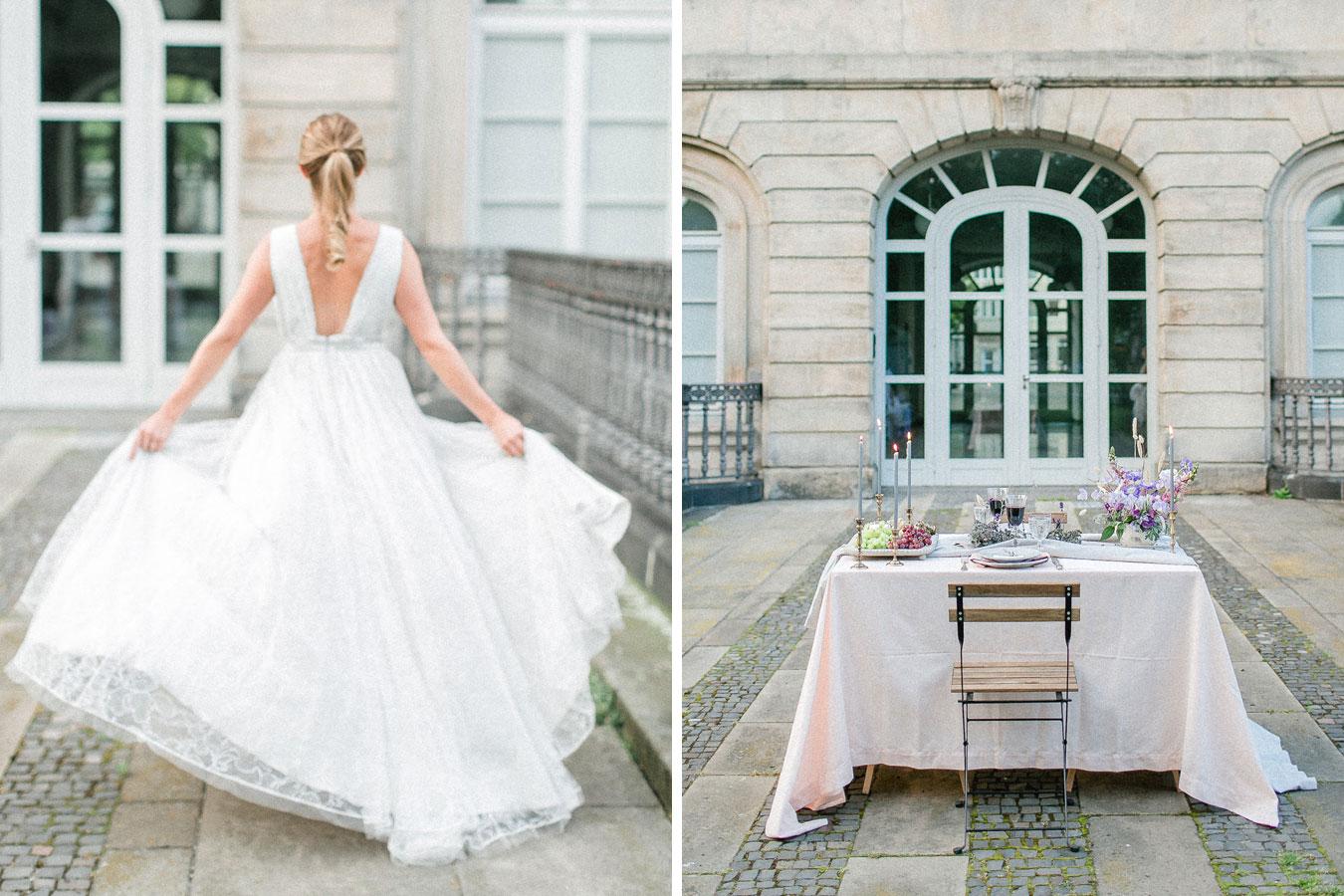 Provence Hochzeit Brautkleid und Tisch